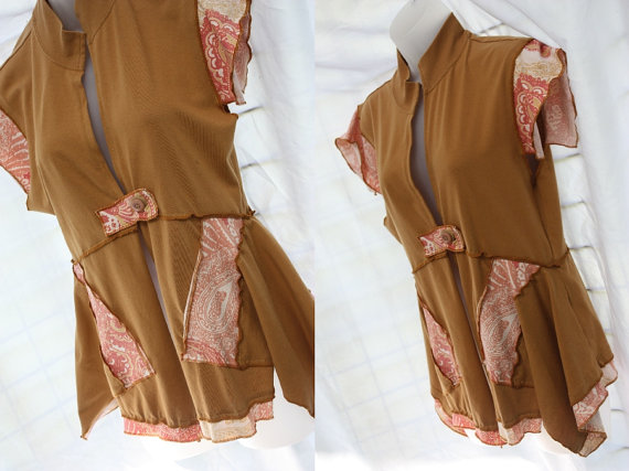 Upcycled refashioned womens vest or top
