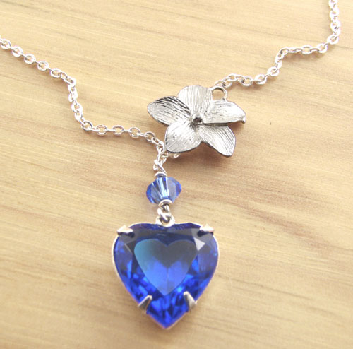 Sapphire Vintage Glass Heart Pendant with Silver Flower Ornament