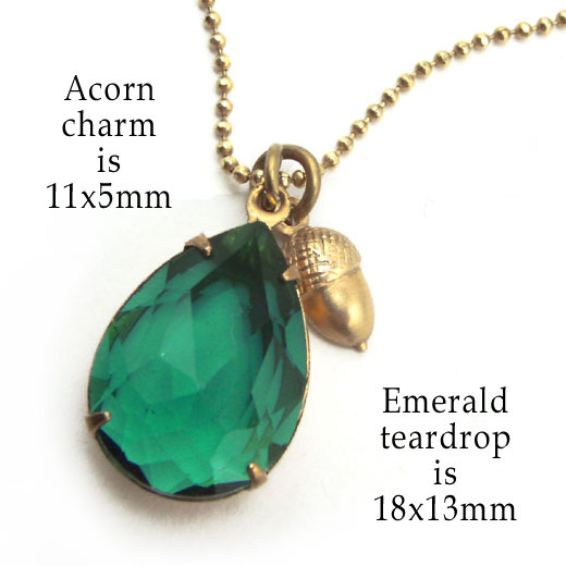 golden brass acorn charms added to emerald glass jewel necklace