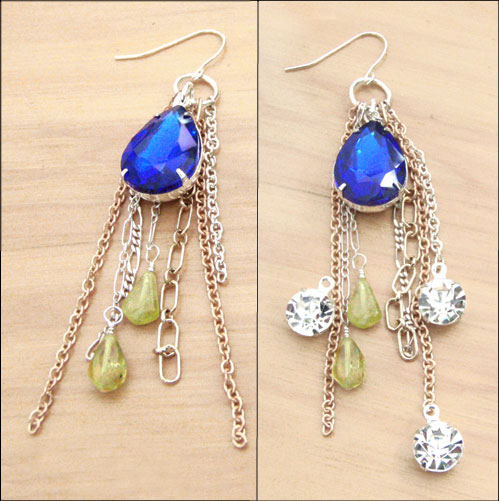 Sapphire Vintage Glass Pear Jewel Earrings with chains and green garnets