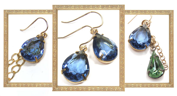Montana Sapphire Vintage Rhinestone Jewel Earrings - Variations on a Theme