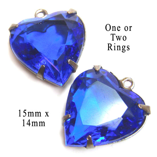 sapphire blue...royal blue...glass heart jewels